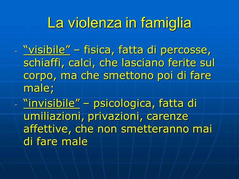 La violenza in famiglia