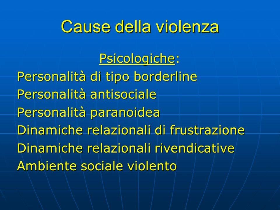Cause della violenza Psicologiche: Personalità di tipo borderline