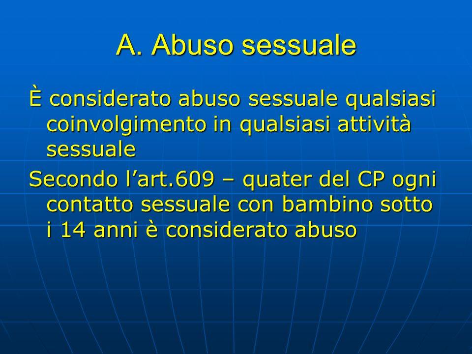 A. Abuso sessualeÈ considerato abuso sessuale qualsiasi coinvolgimento in qualsiasi attività sessuale.