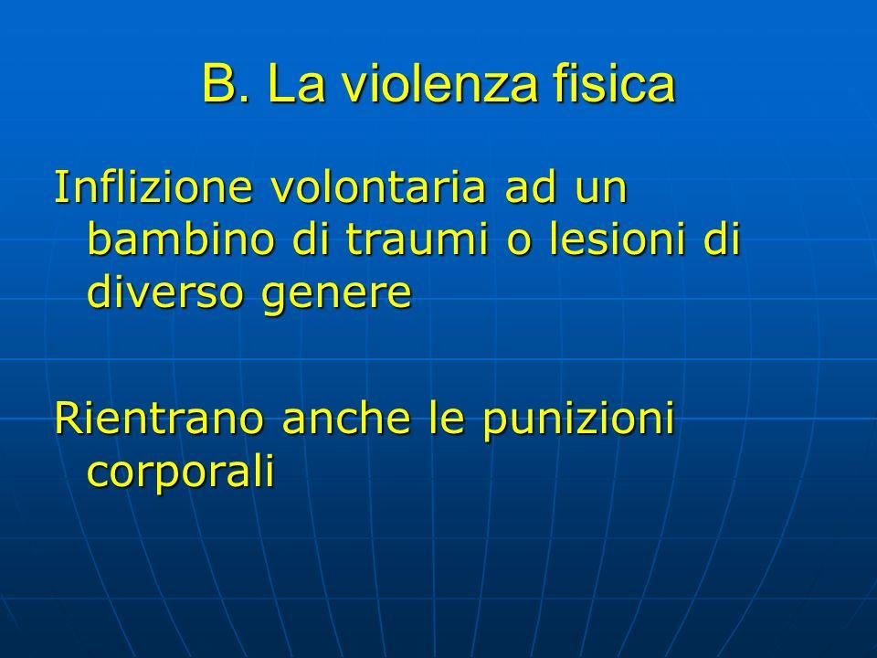 B. La violenza fisica Inflizione volontaria ad un bambino di traumi o lesioni di diverso genere.