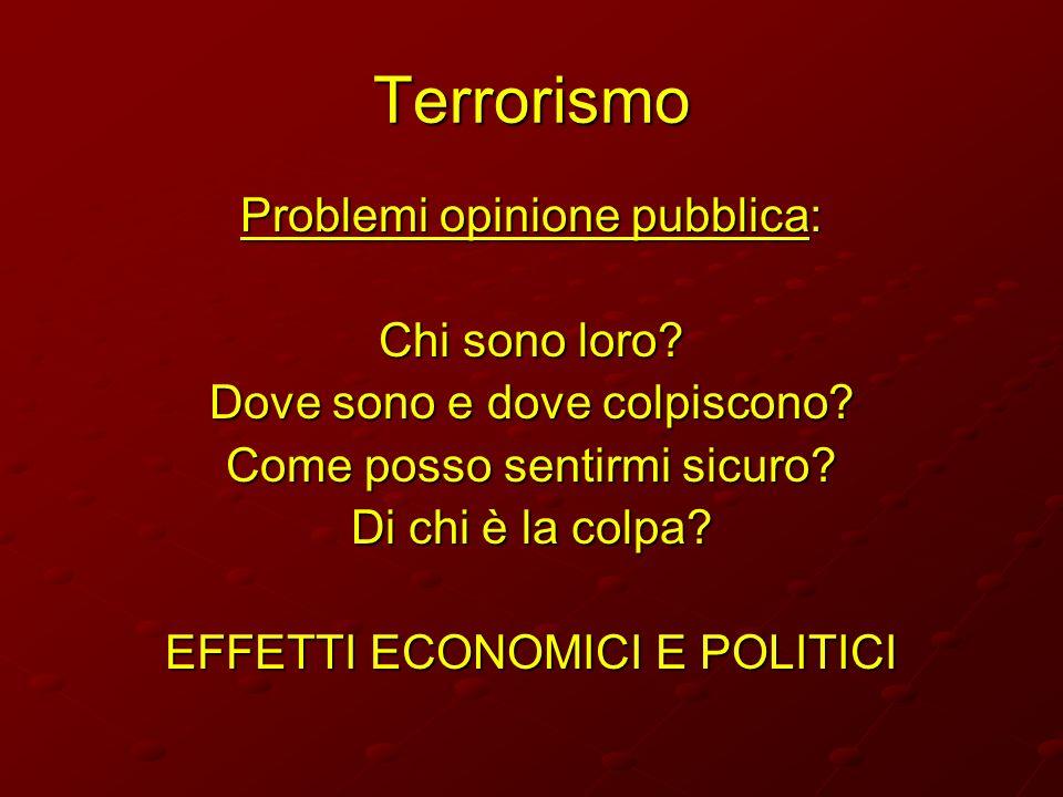 Terrorismo Problemi opinione pubblica: Chi sono loro