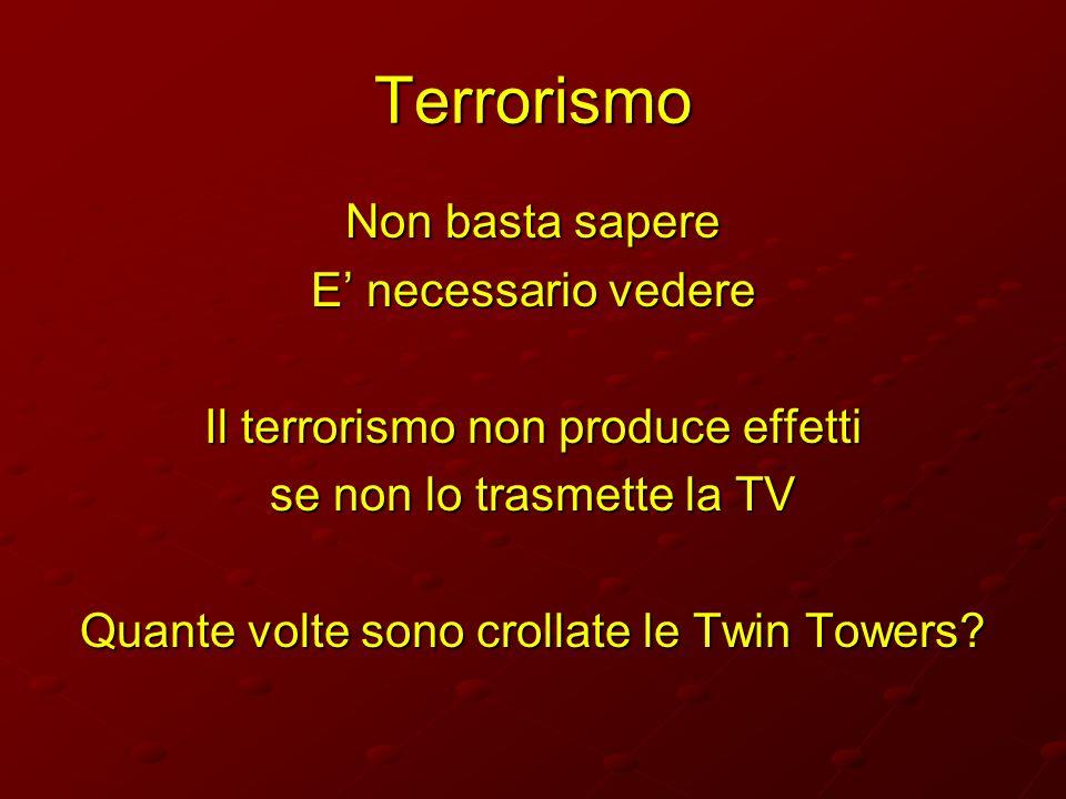 Terrorismo Non basta sapere E' necessario vedere