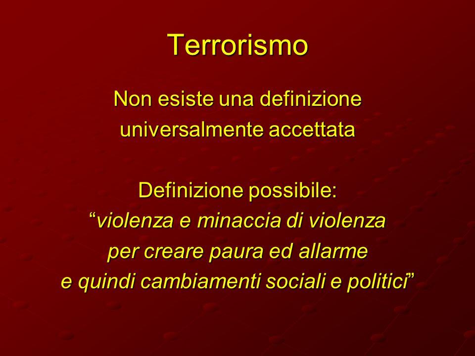 Terrorismo Non esiste una definizione universalmente accettata