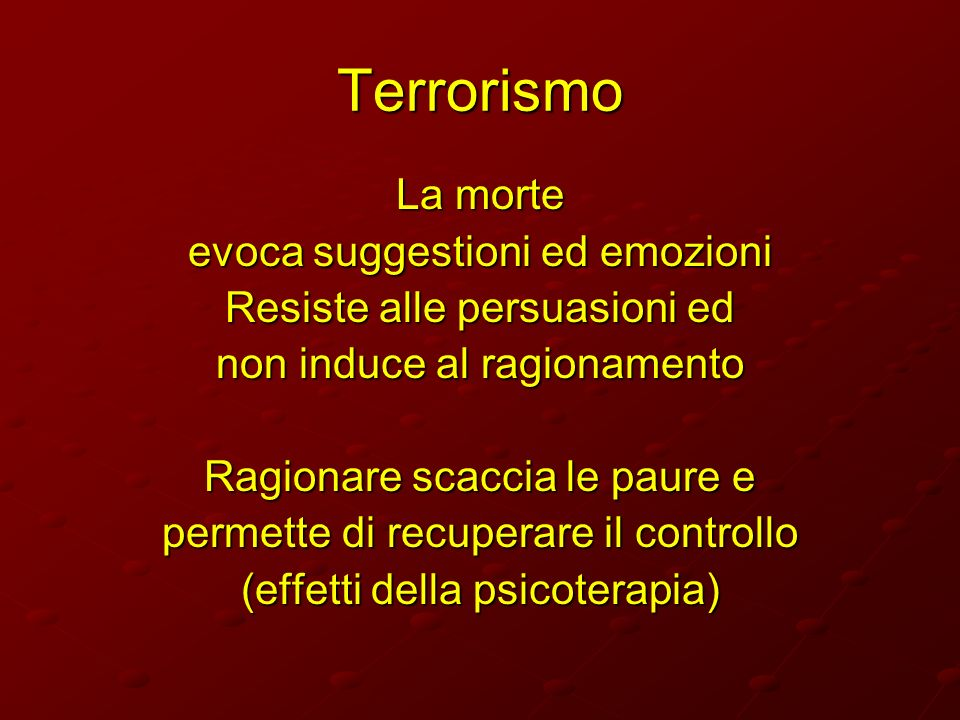 Terrorismo La morte evoca suggestioni ed emozioni