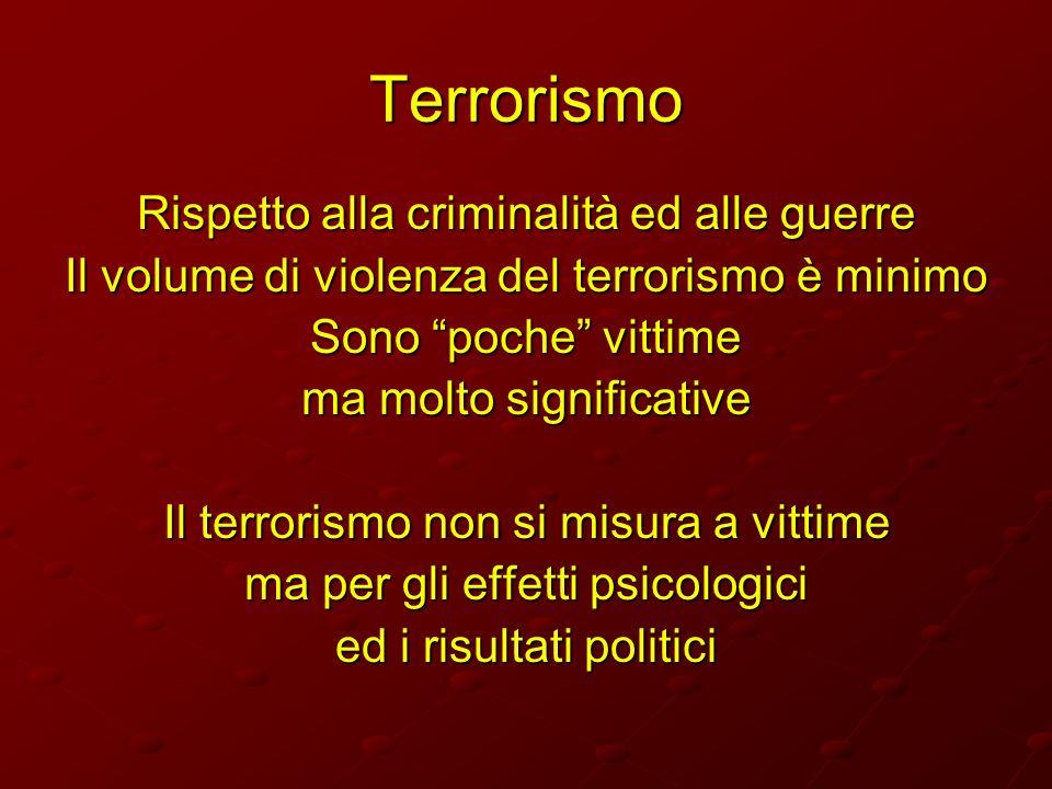 Terrorismo Rispetto alla criminalità ed alle guerre