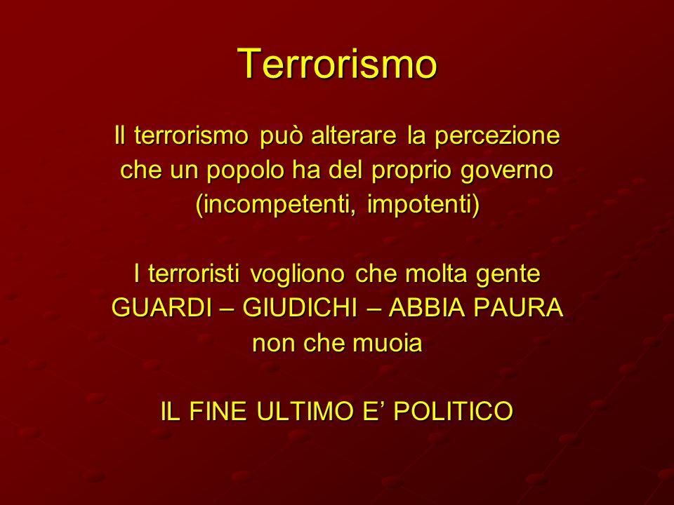 Terrorismo Il terrorismo può alterare la percezione