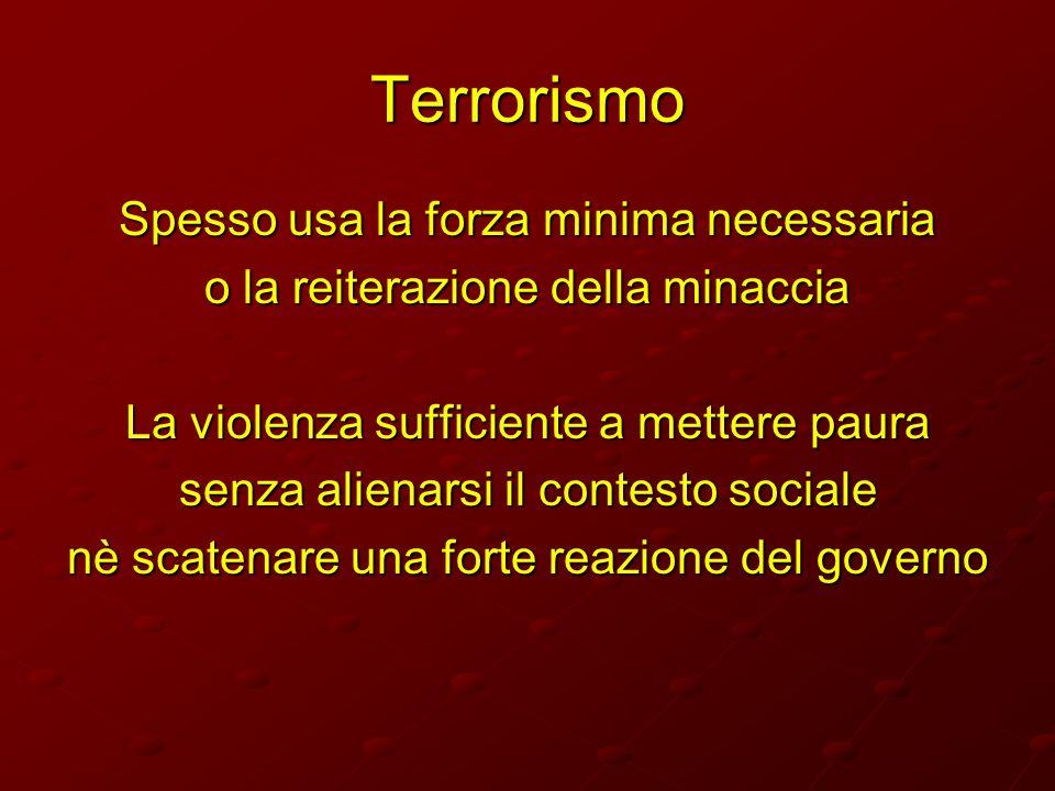 Terrorismo Spesso usa la forza minima necessaria