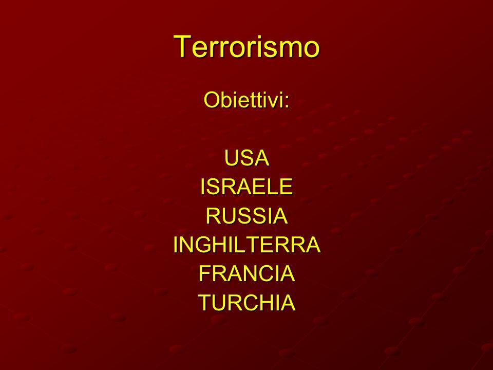 Terrorismo Obiettivi: USA ISRAELE RUSSIA INGHILTERRA FRANCIA TURCHIA