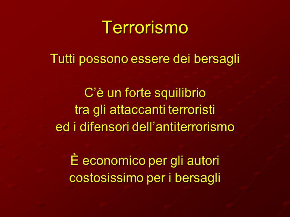 Terrorismo Tutti possono essere dei bersagli C'è un forte squilibrio