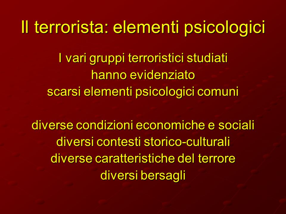 Il terrorista: elementi psicologici