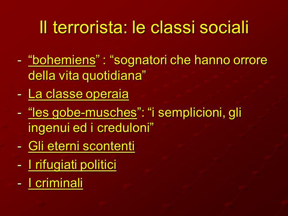 Il terrorista: le classi sociali