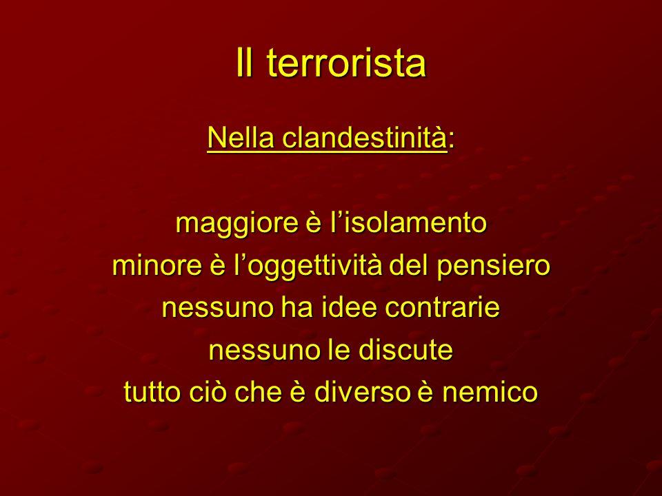Il terrorista Nella clandestinità: maggiore è l'isolamento
