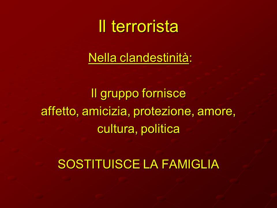 Il terrorista Nella clandestinità: Il gruppo fornisce