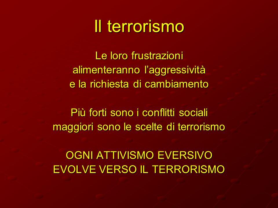Il terrorismo Le loro frustrazioni alimenteranno l'aggressività