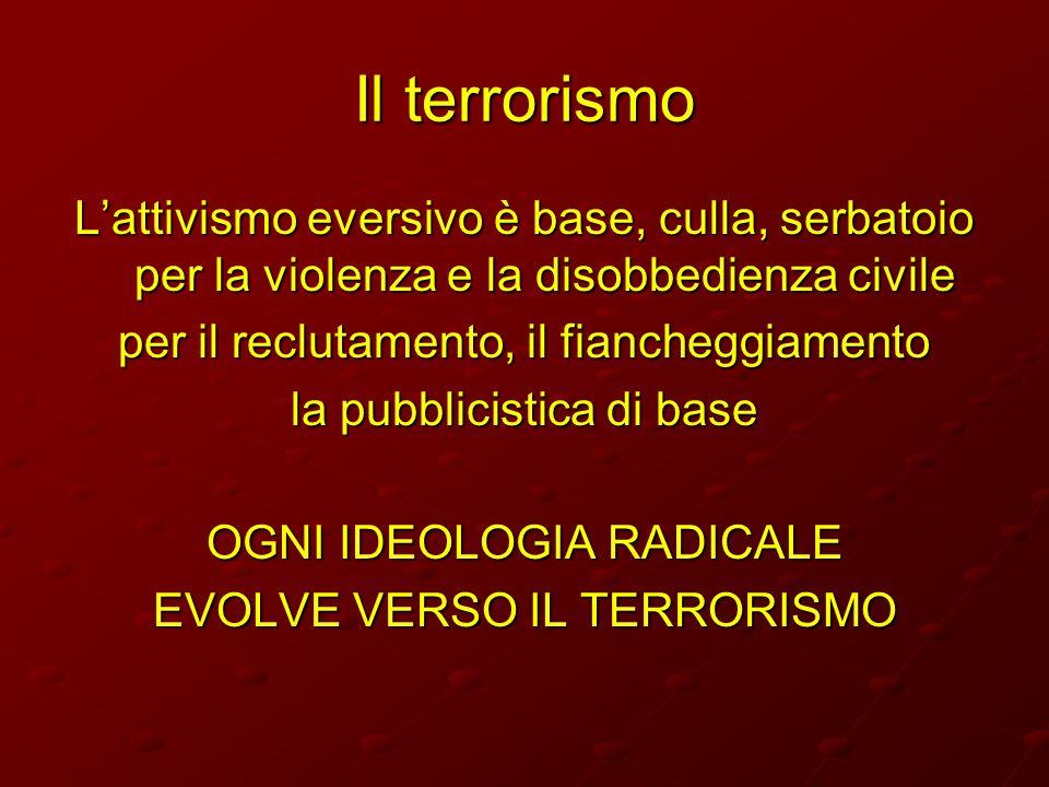 Il terrorismo L'attivismo eversivo è base, culla, serbatoio per la violenza e la disobbedienza civile.