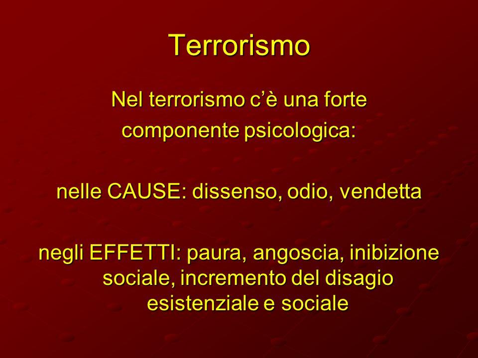 Terrorismo Nel terrorismo c'è una forte componente psicologica: