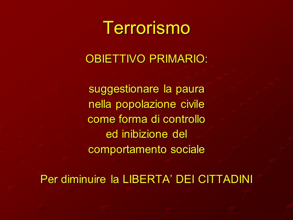 Terrorismo OBIETTIVO PRIMARIO: suggestionare la paura