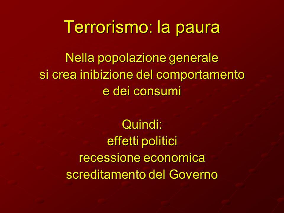 Terrorismo: la paura Nella popolazione generale
