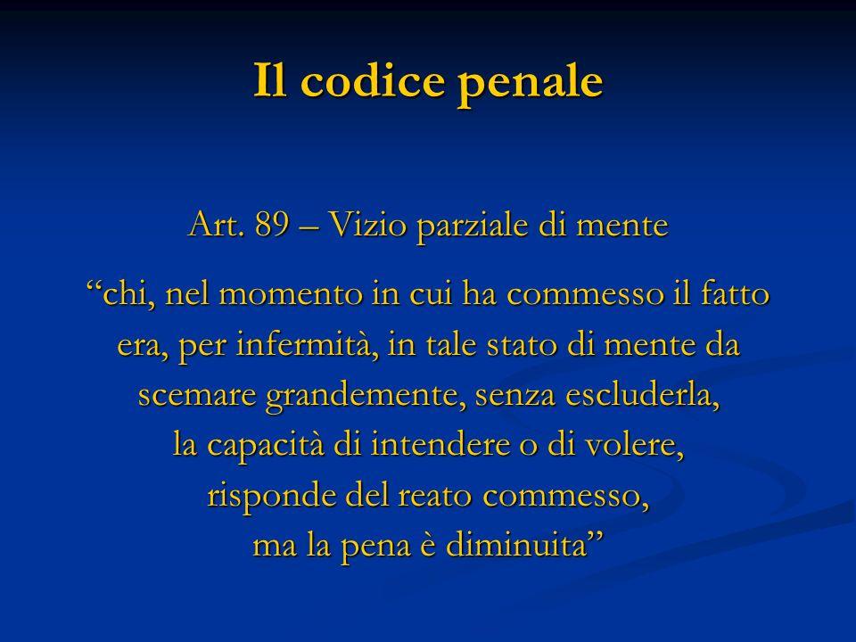 Il codice penale Art. 89 – Vizio parziale di mente