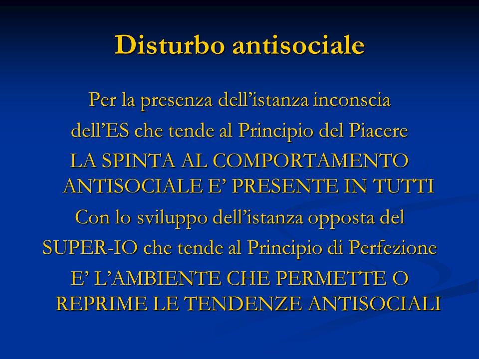 Disturbo antisociale Per la presenza dell'istanza inconscia