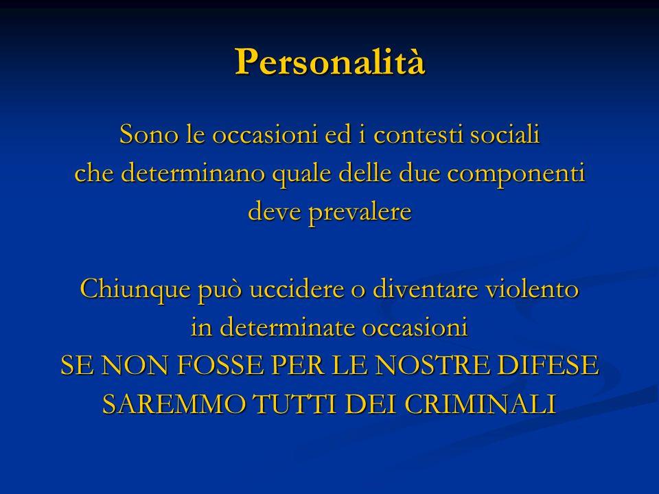 Personalità Sono le occasioni ed i contesti sociali
