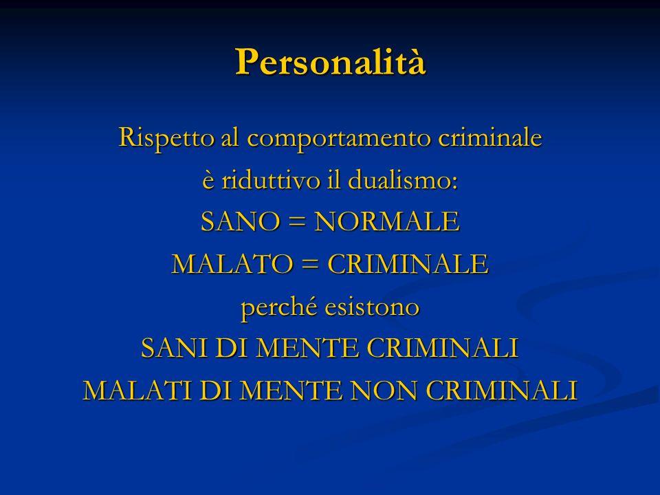 Personalità Rispetto al comportamento criminale