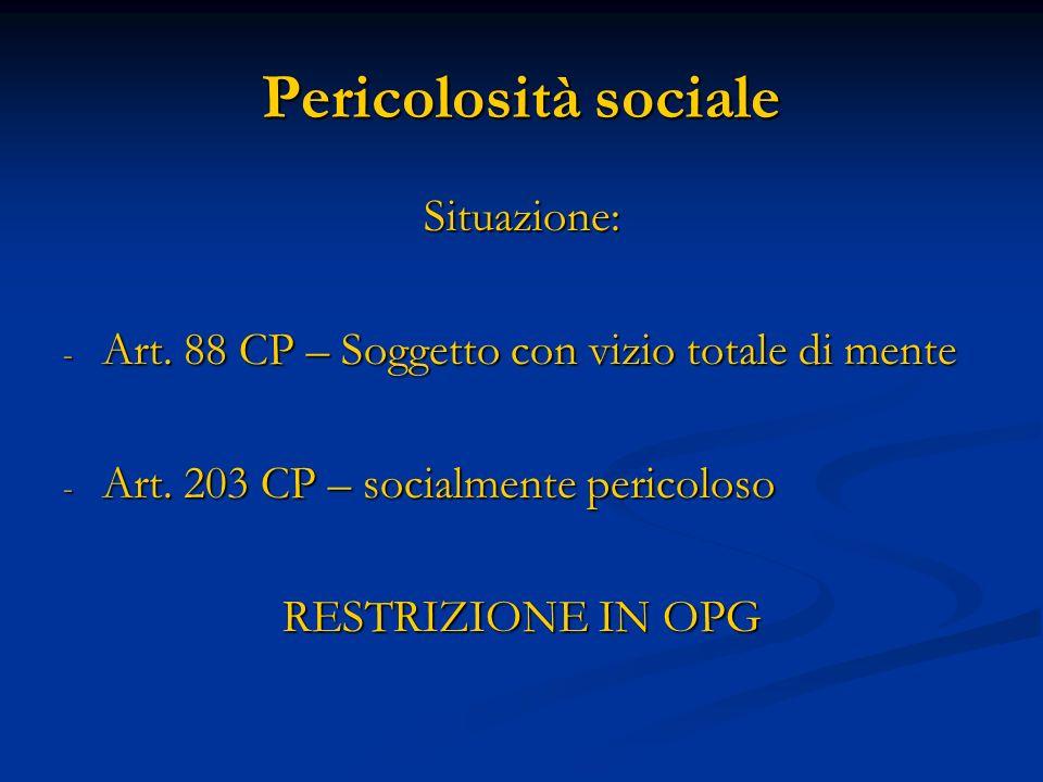 Pericolosità sociale Situazione: