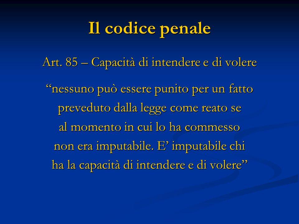 Il codice penale Art. 85 – Capacità di intendere e di volere