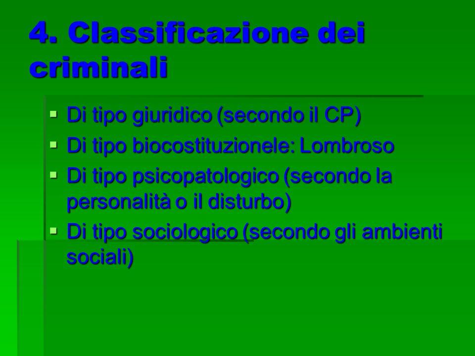 4. Classificazione dei criminali