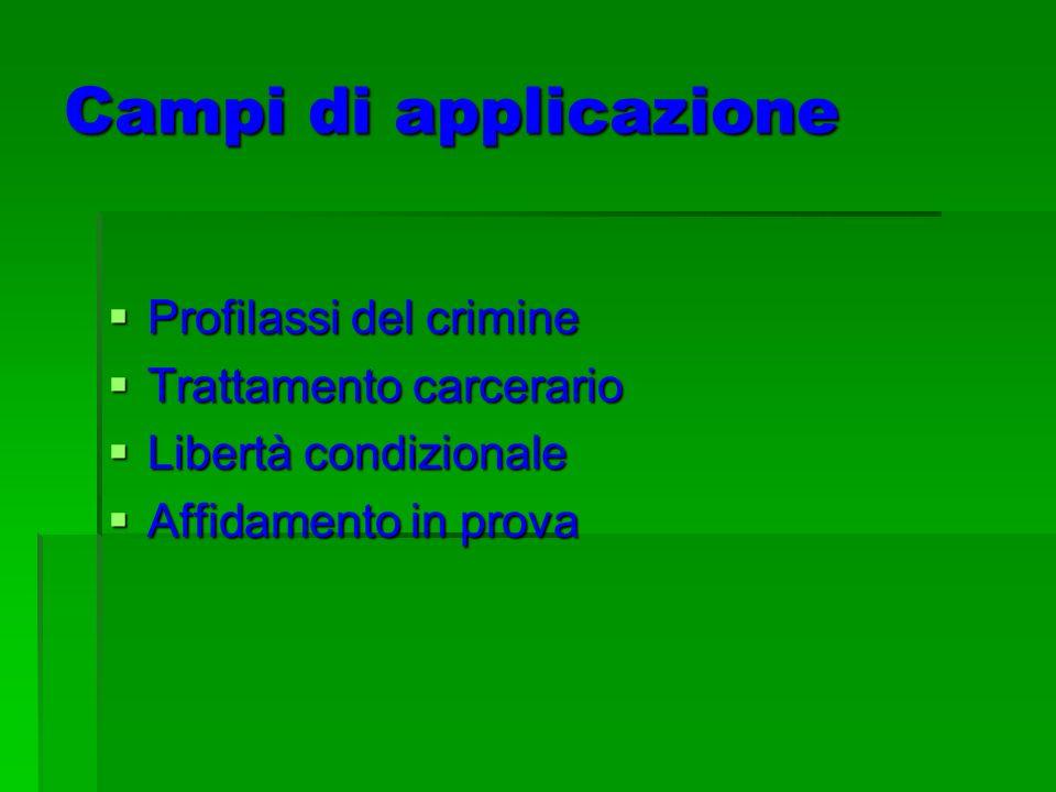 Campi di applicazione Profilassi del crimine Trattamento carcerario