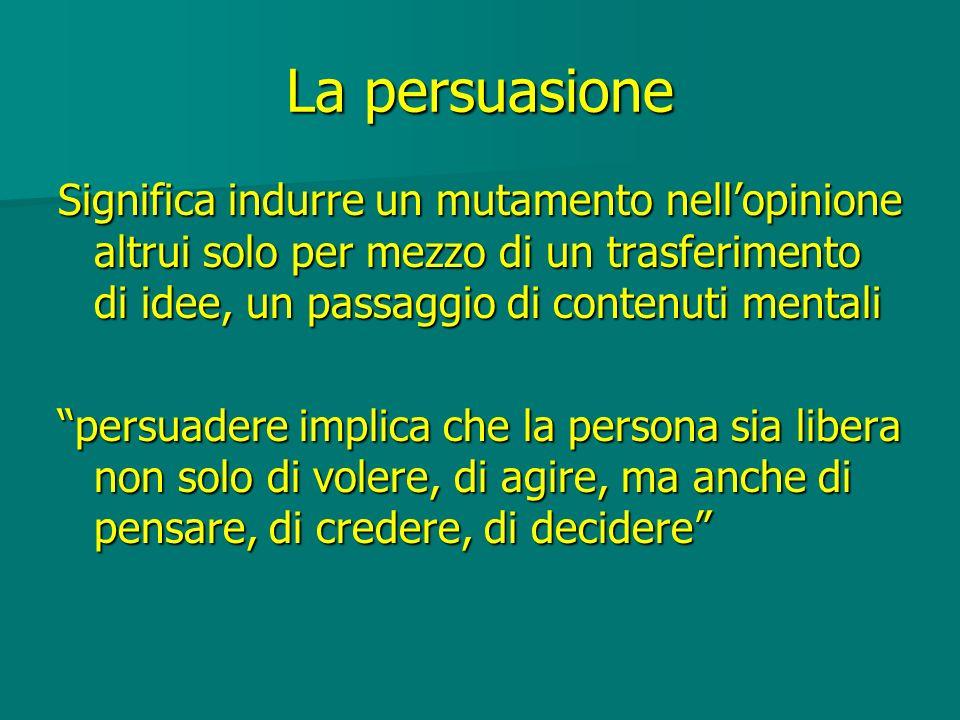 La persuasione Significa indurre un mutamento nell'opinione altrui solo per mezzo di un trasferimento di idee, un passaggio di contenuti mentali.