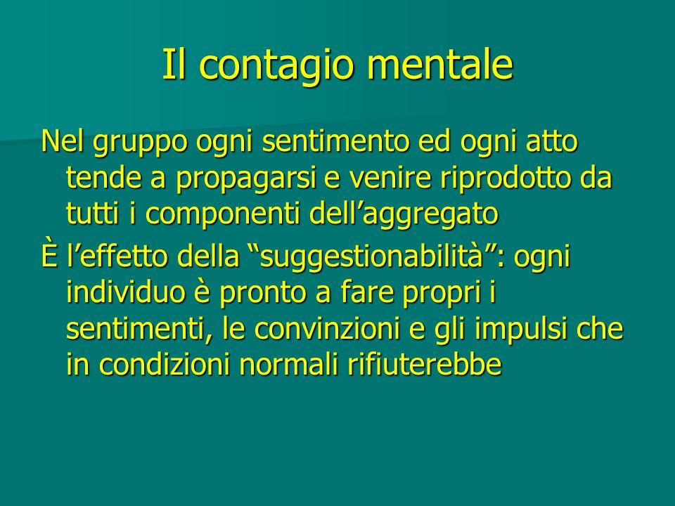 Il contagio mentale Nel gruppo ogni sentimento ed ogni atto tende a propagarsi e venire riprodotto da tutti i componenti dell'aggregato.