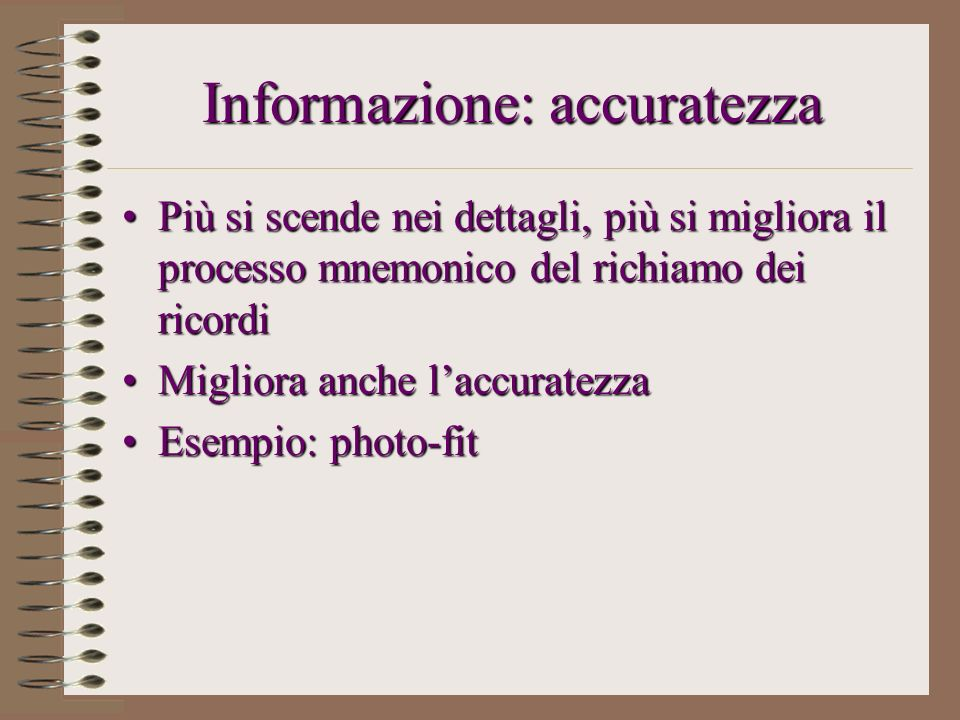 Informazione: accuratezza