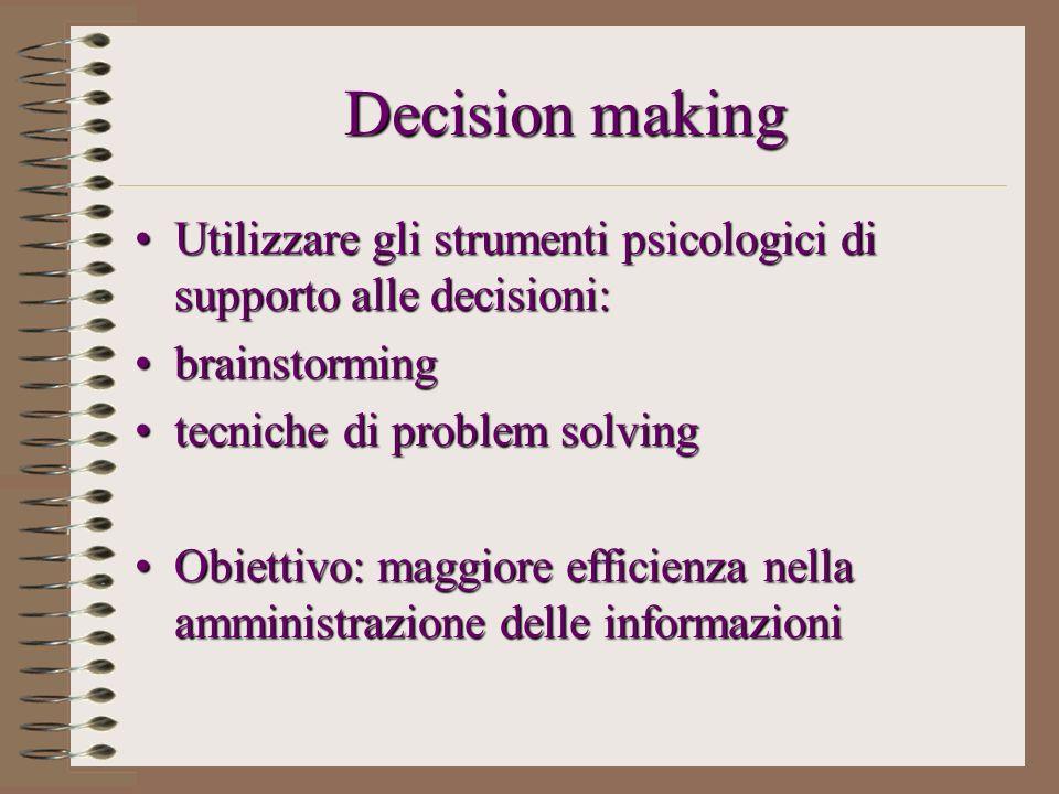 Decision making Utilizzare gli strumenti psicologici di supporto alle decisioni: brainstorming. tecniche di problem solving.
