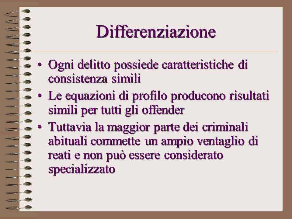 Differenziazione Ogni delitto possiede caratteristiche di consistenza simili.
