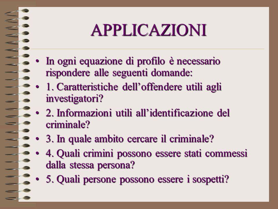 APPLICAZIONI In ogni equazione di profilo è necessario rispondere alle seguenti domande: 1. Caratteristiche dell'offendere utili agli investigatori