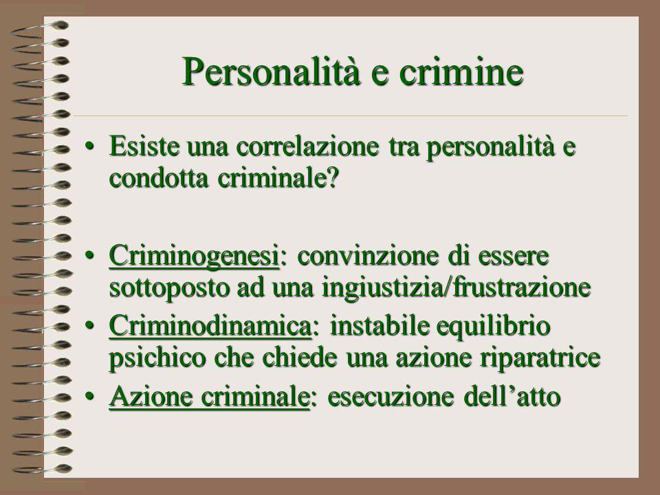 Personalità e crimine Esiste una correlazione tra personalità e condotta criminale