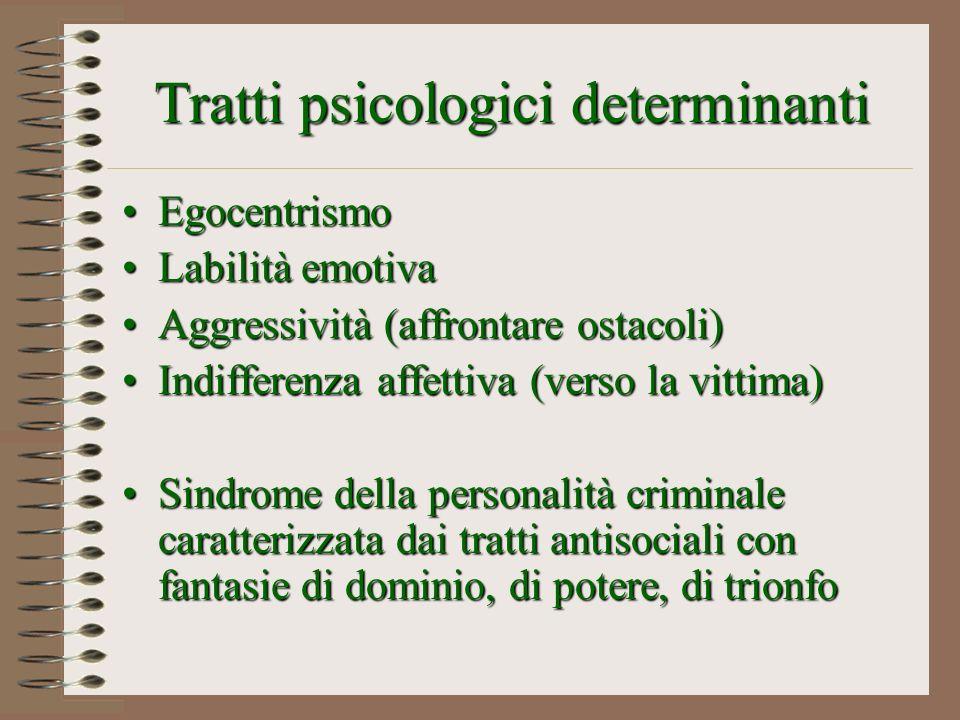 Tratti psicologici determinanti