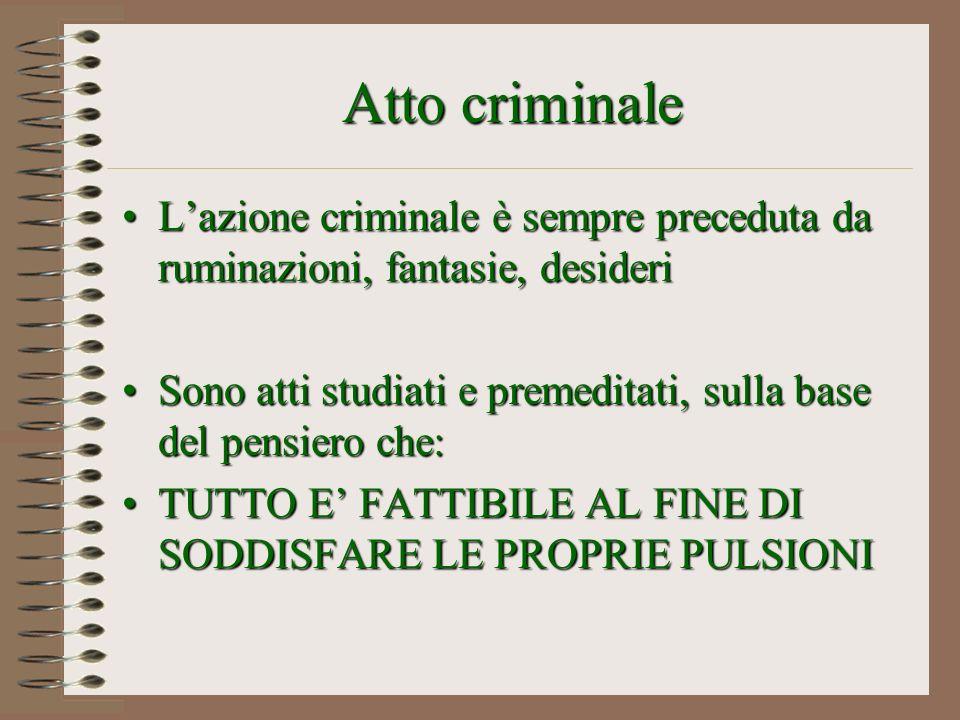 Atto criminale L'azione criminale è sempre preceduta da ruminazioni, fantasie, desideri.