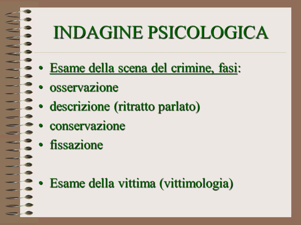 INDAGINE PSICOLOGICA Esame della scena del crimine, fasi: osservazione