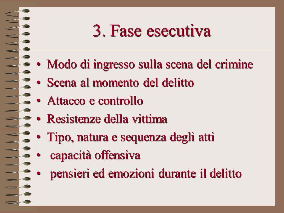 3. Fase esecutiva Modo di ingresso sulla scena del crimine