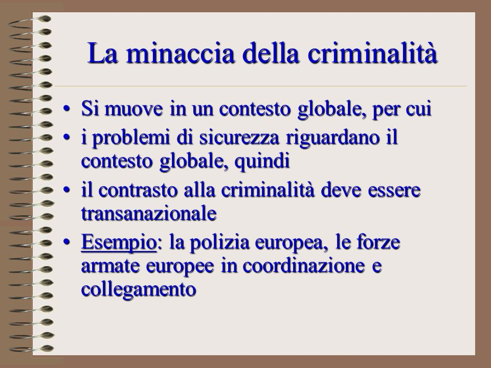 La minaccia della criminalità