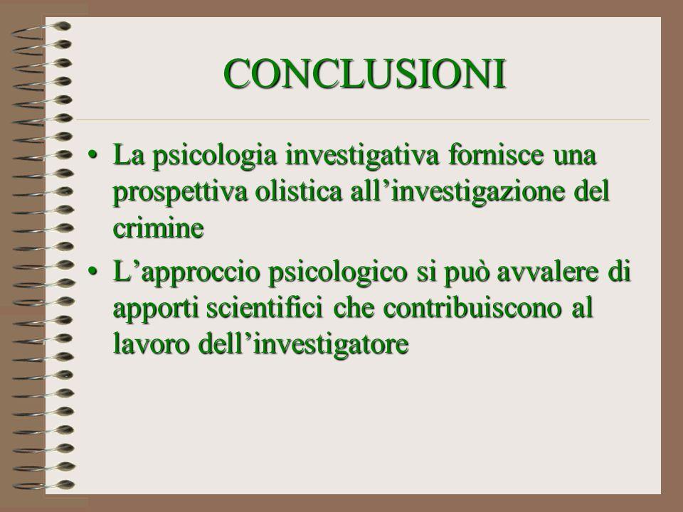 CONCLUSIONI La psicologia investigativa fornisce una prospettiva olistica all'investigazione del crimine.