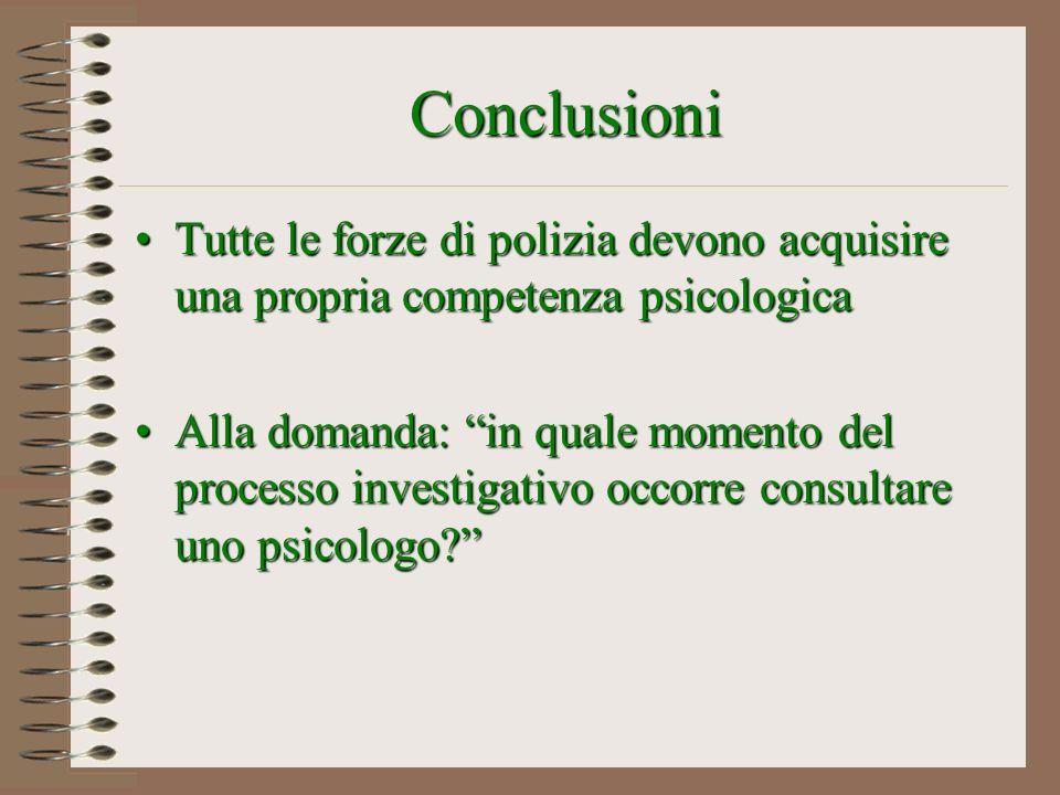 Conclusioni Tutte le forze di polizia devono acquisire una propria competenza psicologica.