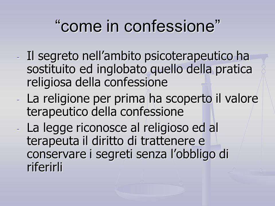 come in confessione Il segreto nell'ambito psicoterapeutico ha sostituito ed inglobato quello della pratica religiosa della confessione.