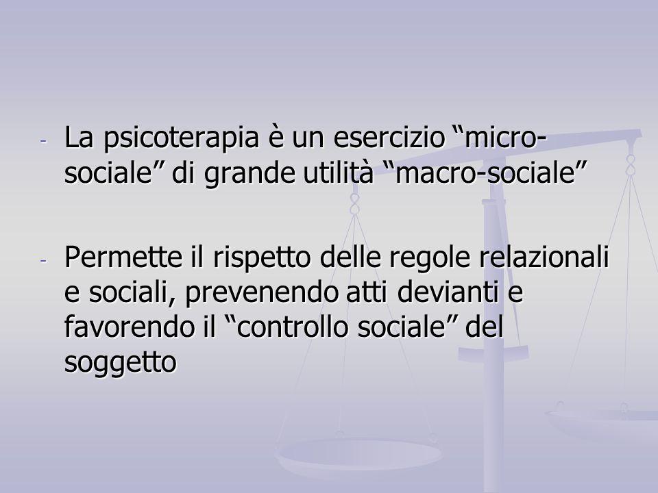 La psicoterapia è un esercizio micro-sociale di grande utilità macro-sociale