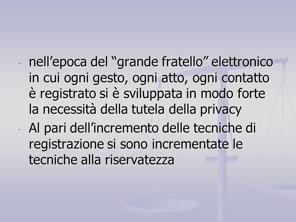 nell'epoca del grande fratello elettronico in cui ogni gesto, ogni atto, ogni contatto è registrato si è sviluppata in modo forte la necessità della tutela della privacy