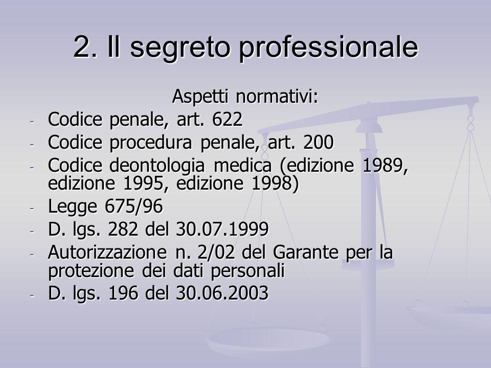 2. Il segreto professionale