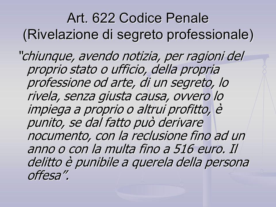 Art. 622 Codice Penale (Rivelazione di segreto professionale)