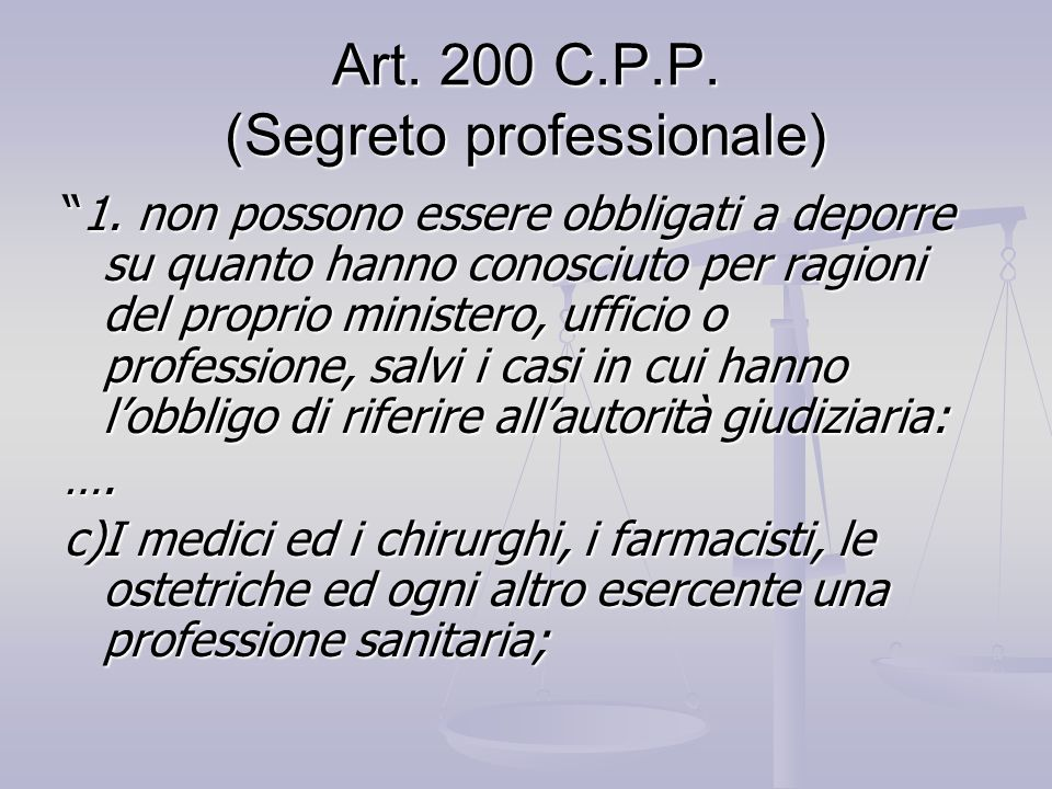 Art. 200 C.P.P. (Segreto professionale)